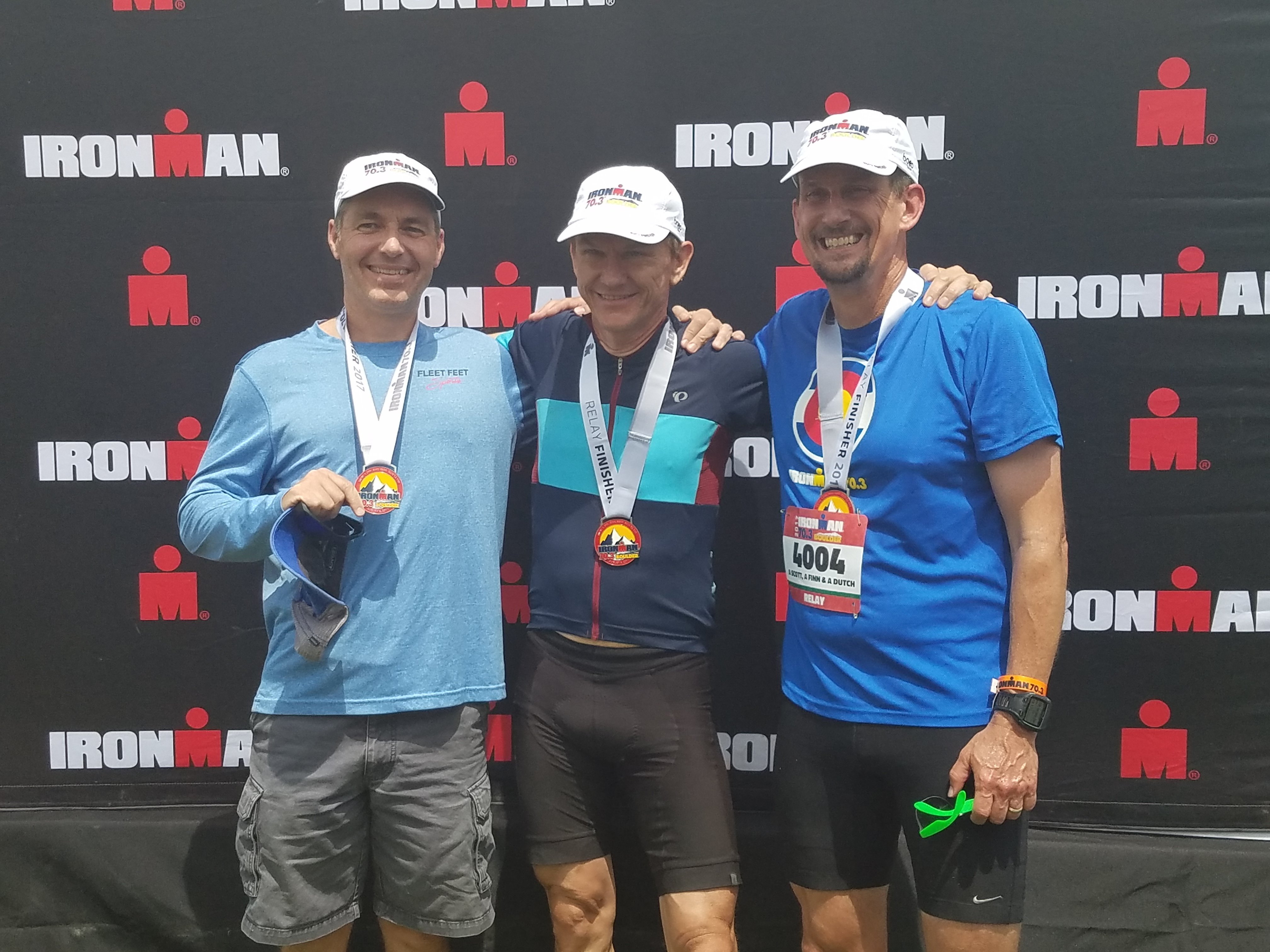 L to R: Gavin Maitland (swim), Harri Lintukorpi (bike), Greg Lems (run)