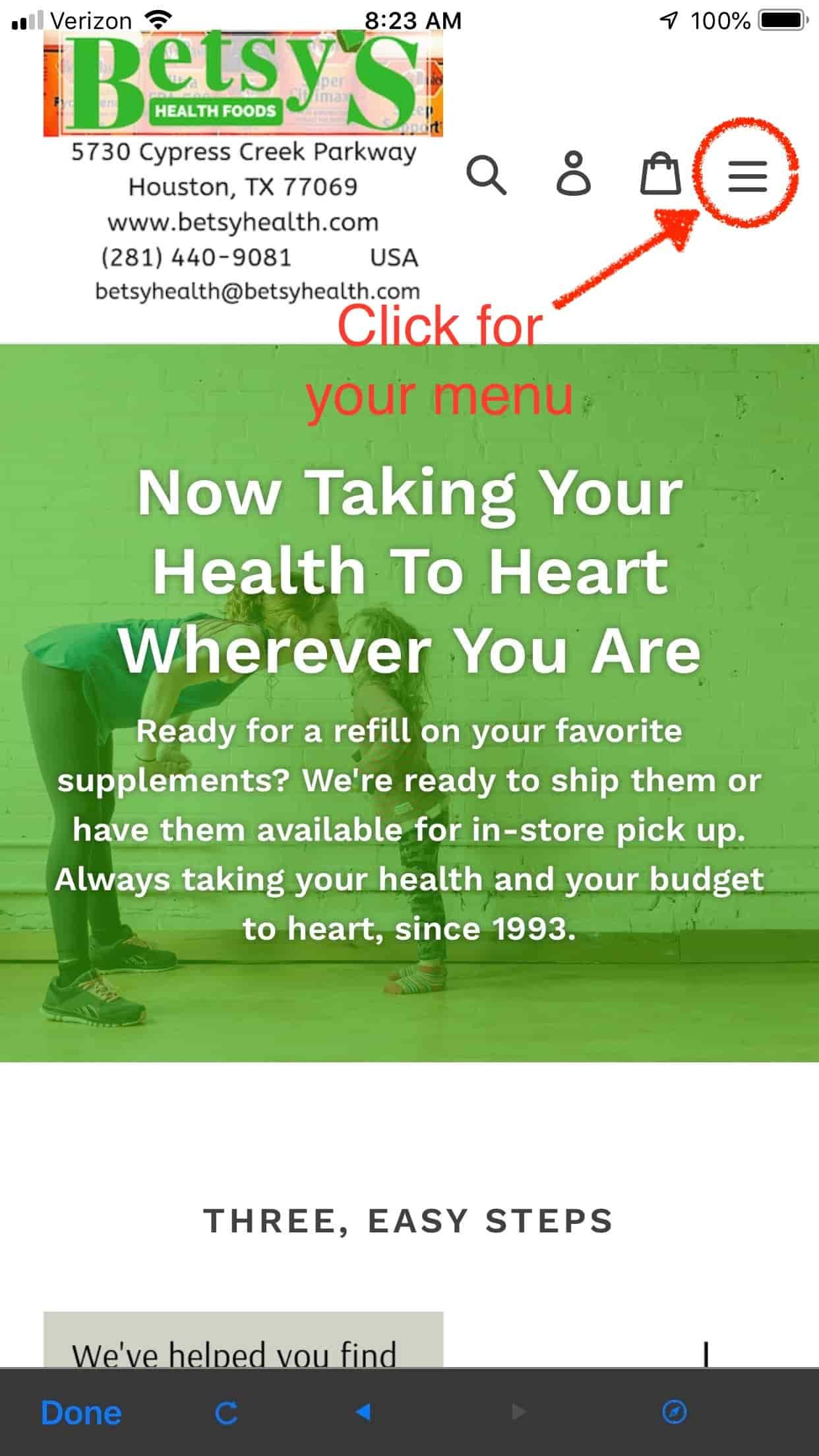 Where to find the mobile menu for BetsyHealth