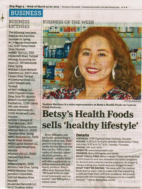 Betsy's Health Foods in the Houston Chronicle