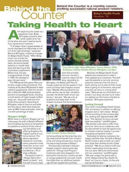 Betsy's Health Foods in Vitamin Retailer magazine