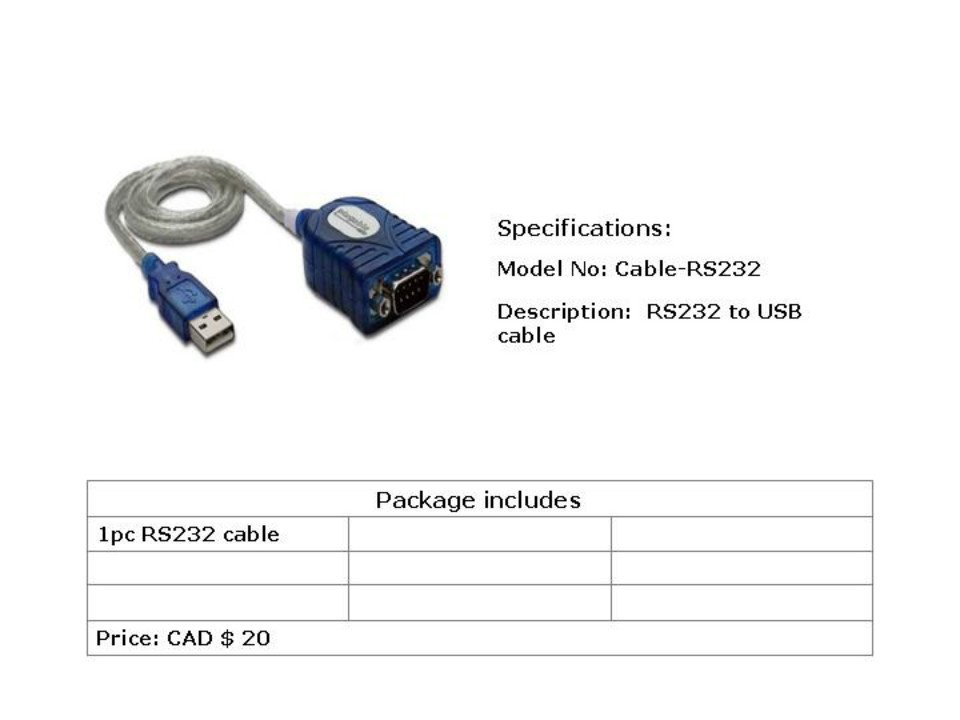 RS 232 cable