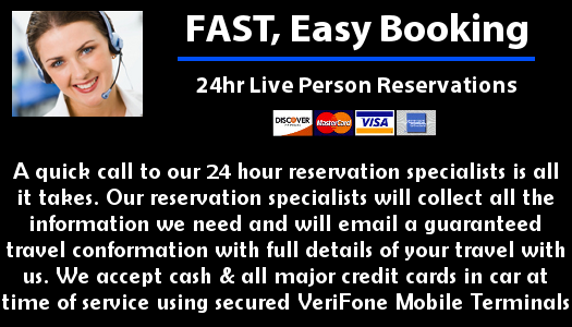 A quick call to our 24 hour reservation specialists is all it takes. Our reservation specialists will collect all the information we need and will email a guaranteed travel conformation with full details of your travel with us. We accept cash & all major credit cards in car at time of service using secured VeriFone Mobile Terminals