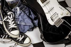 Black Guitar With Sneakers