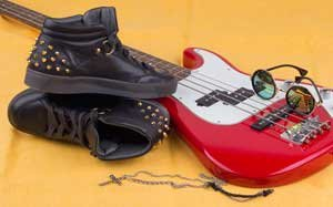 Red Guitar With Boots