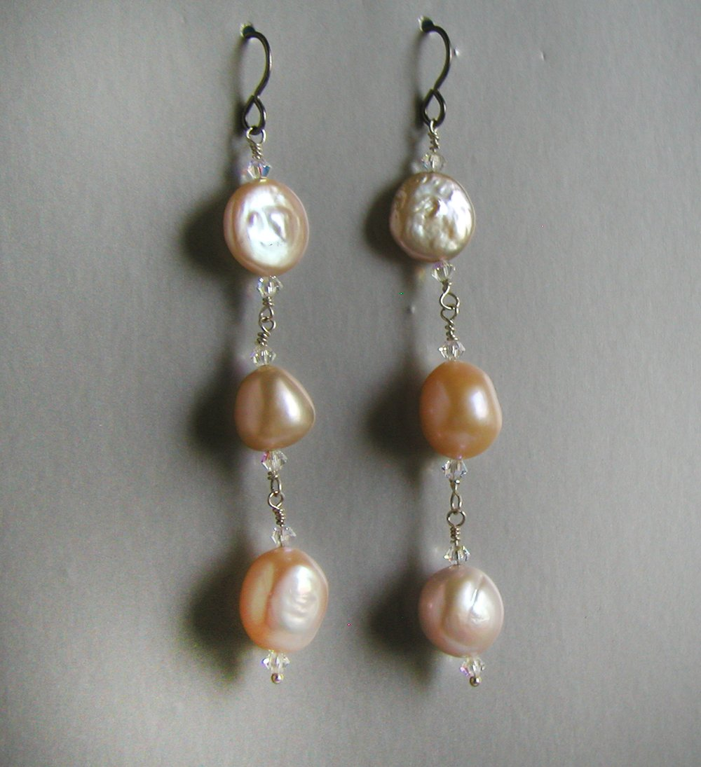 double strand 3 drop earrings