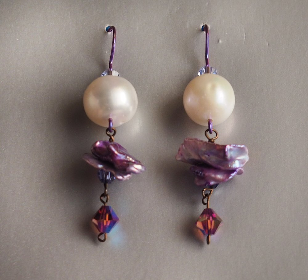 lilac ballerina earrings