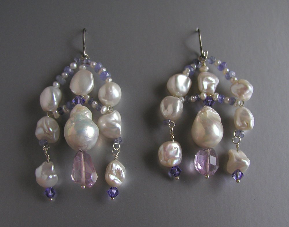 pearl amethystset earrings