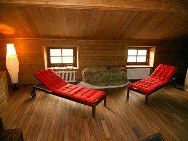 La zona relax dell'Hotel Italia al Colle del Gran San Bernardo