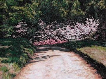 Azaleas and Pathway, painting by Mary Baker
