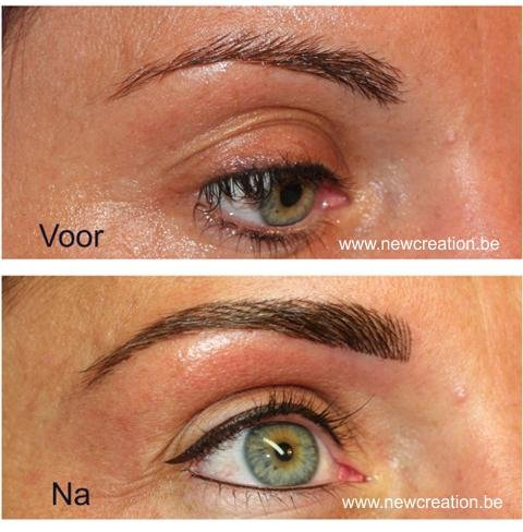 Microblading / 3D Hairstroke wenkbrauwen + eyeliner boven en binnenkant onderste waterlijn