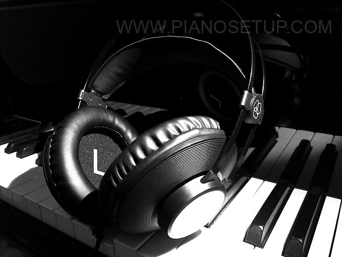 piano with headphones