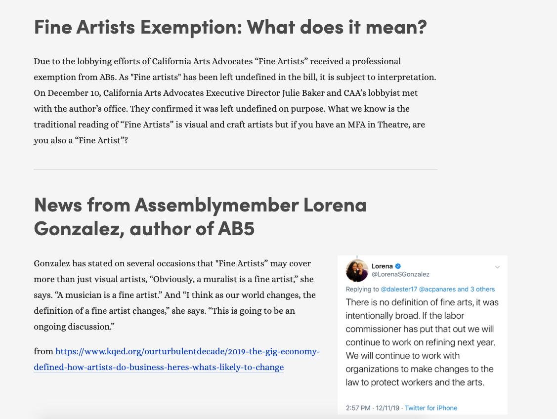 Fine Artists Exemption