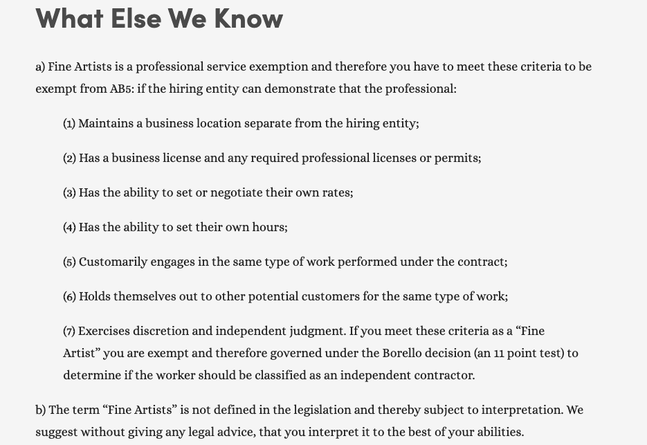 Professional Services Exemption