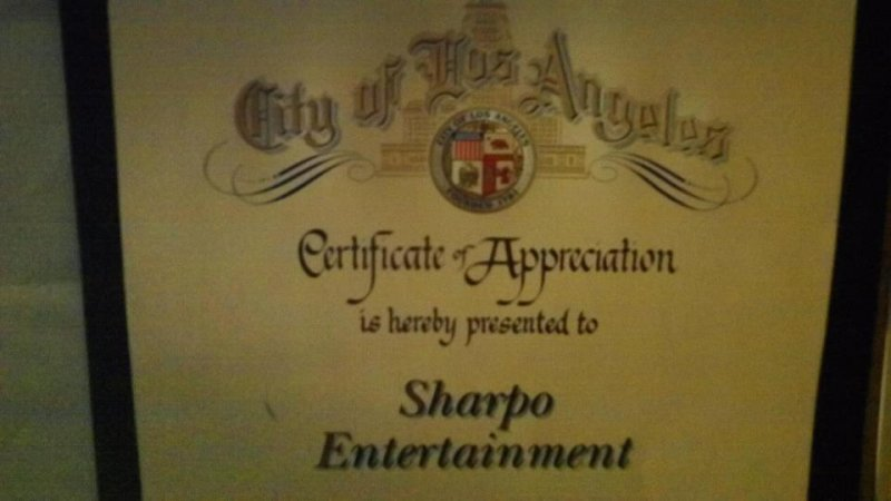 Certificate of Appreciation from Los Angeles