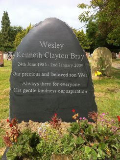Simon Keeley bespoke carved Delabole slate - bespoke memorial - Chobham church yard