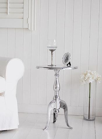 Kensington Silver and White Pedestal Table for cottage living room and hall furniture