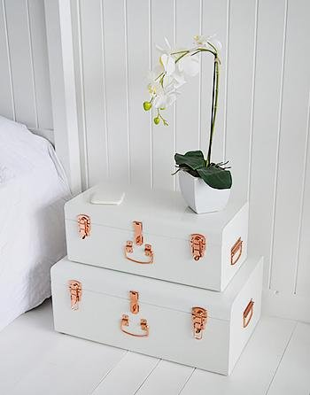 Nantucket white bedside table with storage