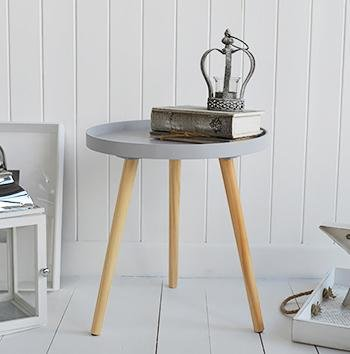 The White Cottage Furniture Portland grey scandi style tripod side table