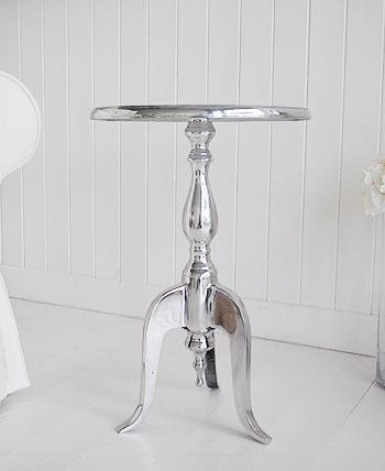 Kensington Silver and White Pedestal Table for bedside table