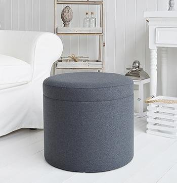 Westhampton Grey foot stool, coffee table and dressing table stool White Cottage Living Room Furniture