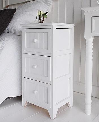 Maine white bedside cabinet with 3 drawers from White Cottage Bedroom Furniture