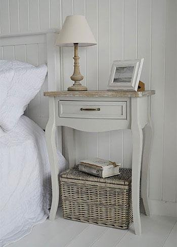 White Cottage Bedroom Furniture - Bridgeport Grey Bedside Table