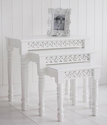White nest of three coffee tables for cottage furniture