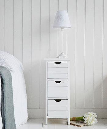 Dorset white narrow bedside table max 25cm wide