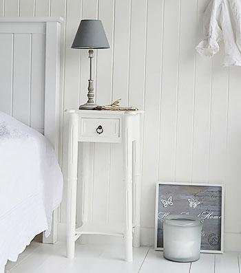 New England white Tall slim bedside table from The White Cottage Bedroom Furniture