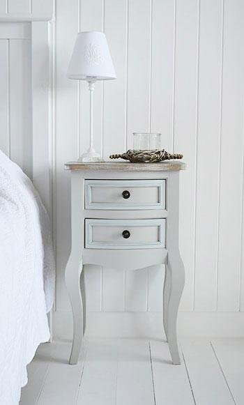 The White Cottage Furniture - Bridgeport Grey lamp table with drawers for bedroom furniture