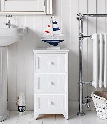 Maine white bathroom storage furniture with three drawers from White Cottage Bathroom furniture
