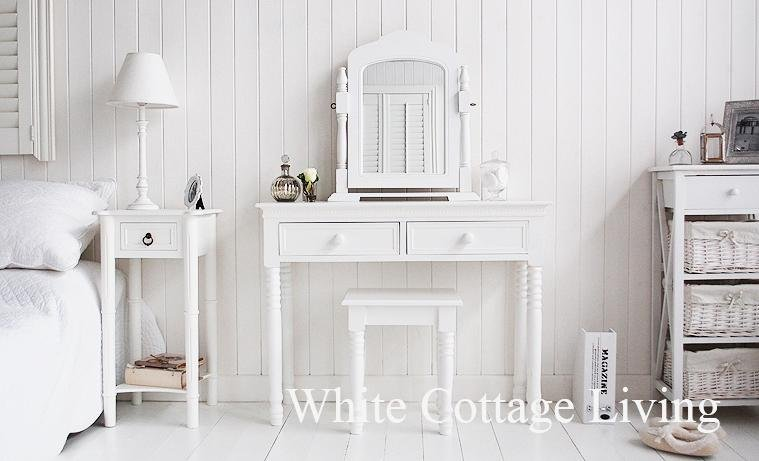 New England white Dressing Table with white handles