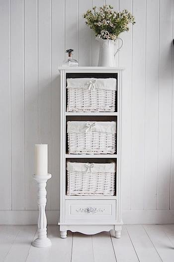 White Cottage Furniture - Rose white tall storage baskets