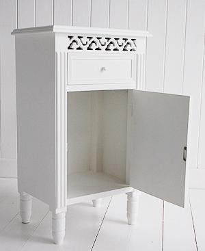 New England white bedside cabinet with cupboard and drawer