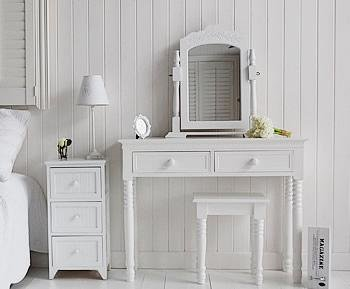 Maine white bedside table with New England white dressing table
