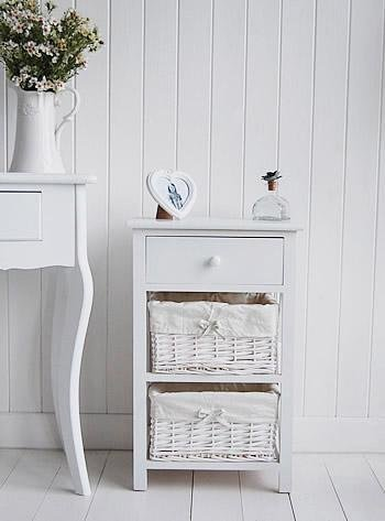 New Haven White Bedside table, a three drawer from White Cottage bedroom furniture
