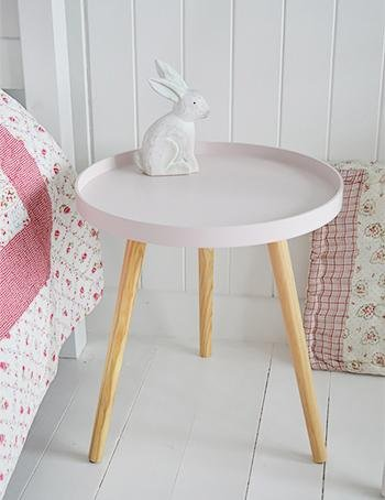 Portland Pink Bedside or side table from White Cottage Bedroom and Living Room  Furniture