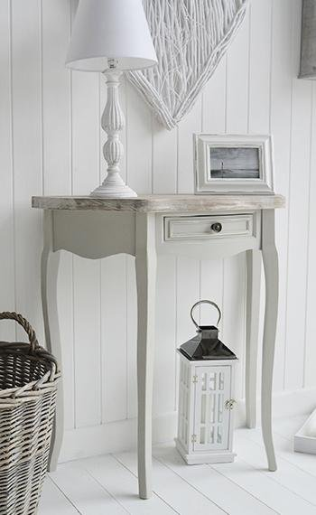 The White Cottage Bridgeport Grey Hal Moon Table for hall furniture