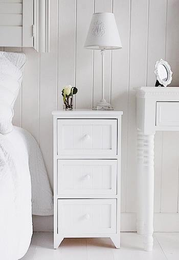 Maine white bedside table with 3 drawers from White Cottage Bedroom Furniture