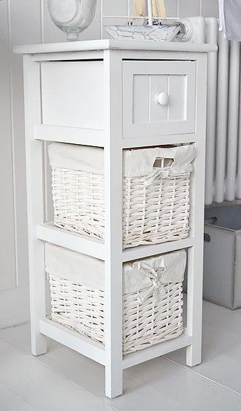 25cm wide narrow white bathroom storage furniture Bar Harbor White Cottage Bathroom Furniture