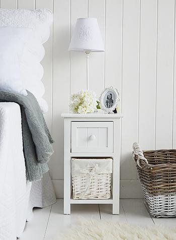 Bar Harbor Narrow Small White Bedside Table White Cottage Bedroom furniture