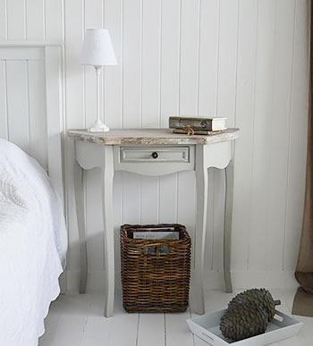 The White Cottage Bridgeport Grey Half Moon Table for bedroom furniture
