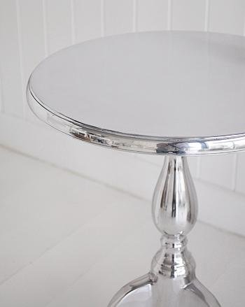 Kensington Silver and White Pedestal Table for drinks table