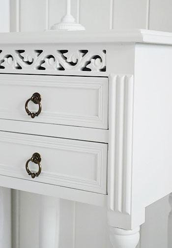 New England white bedside table with drawers for bedroom storage