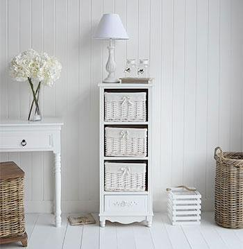 White Cottage Furniture - Rose white tall storage baskets for bathroom