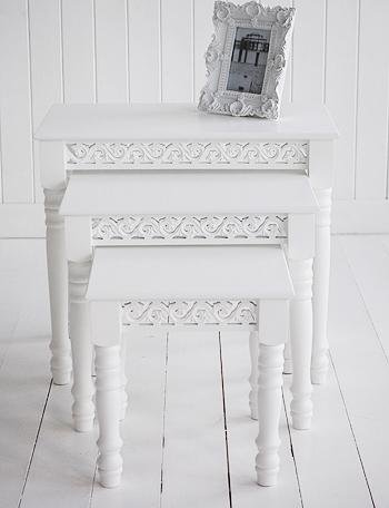 White Nest of Tables for living room furniture