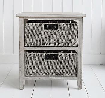 The White Cottage Furniture St Ives Grey Storage furniture with 2 baskets for living room table