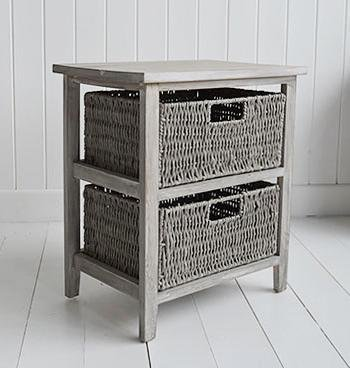 The White Cottage Furniture St Ives Grey Storage furniture with 2 baskets for bedroom storage