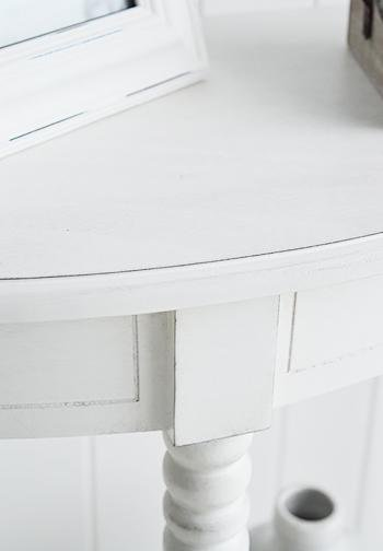 Colonial white half moon table - White Cottage Hallway Furniture