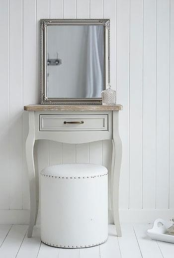 White Cottage Bedroom Furniture - Bridgeport Grey Small Dressing Table